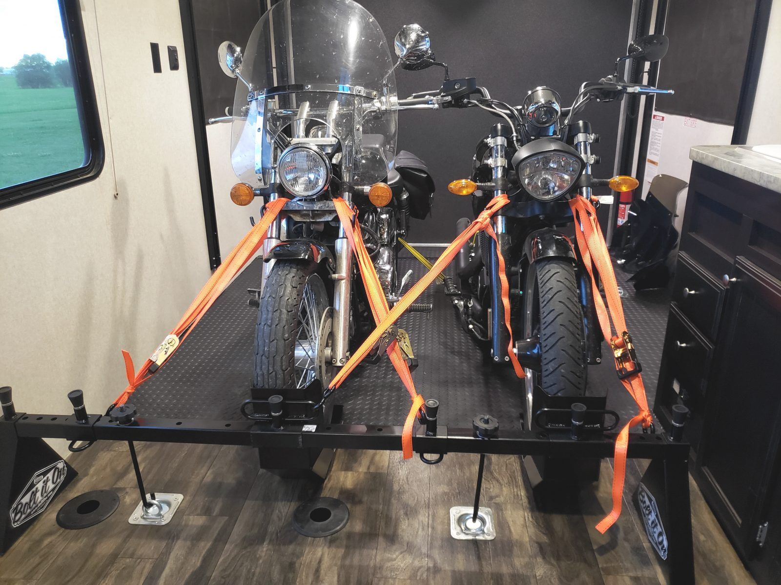 Two Cruiser Style Street Bikes on a Bolt It On Tie Down System