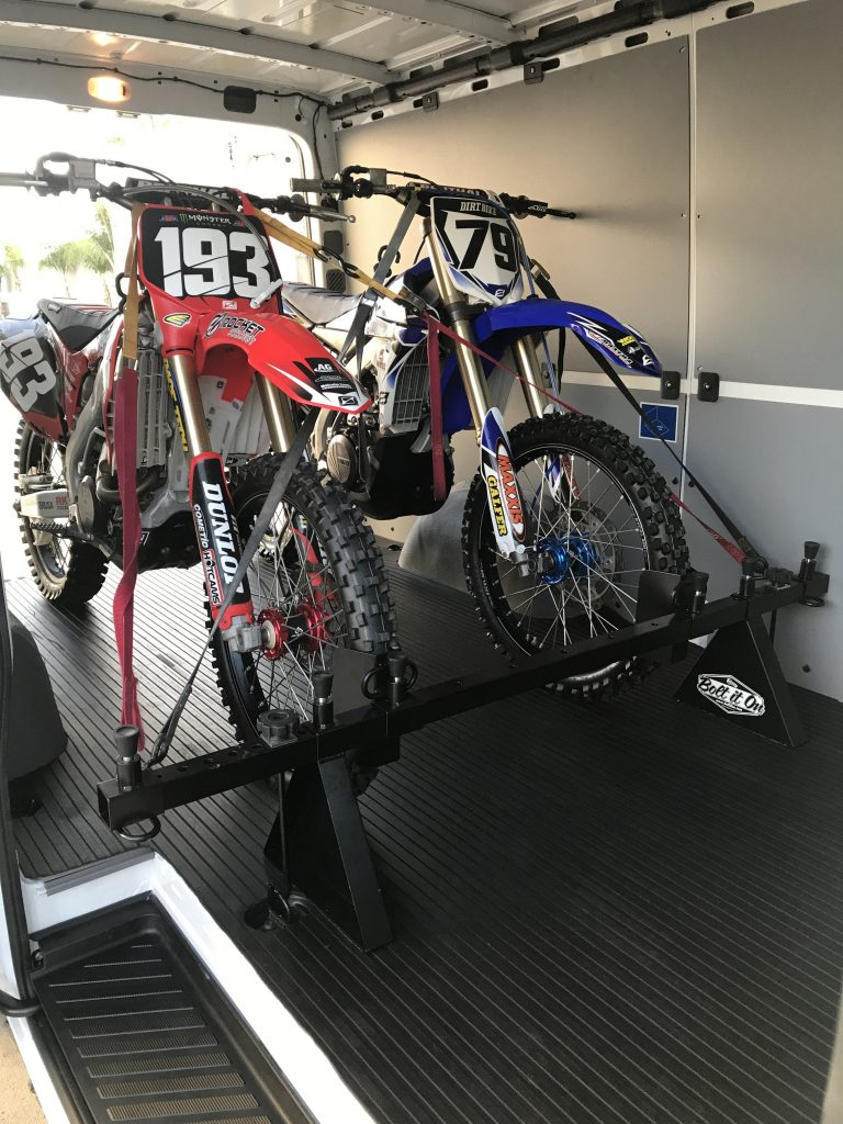 2 Dirt Bikes Loaded In Mercedes Sprinter
