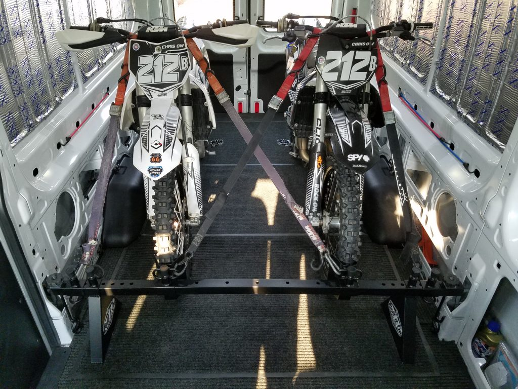 2 Dirt Bikes In Ford Transit Cargo
