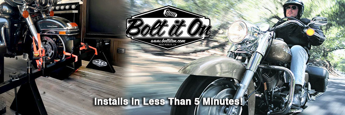 Bolt it on is perfect for all your hauling needs for vans, trailers and toy haulers. Take your Harley Davidson or cruiser anywhere you go!   Bike rack kits are perfect for your vans, van moto, trailers and you haulers. We are perfect for securing Harley Davidson's, Indians, KTM adventures, BMW GS, RT and cruisers
